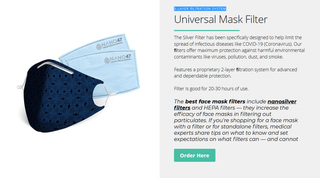 cloth masks with nano silver and hepa filters to reduce the spread of the virus