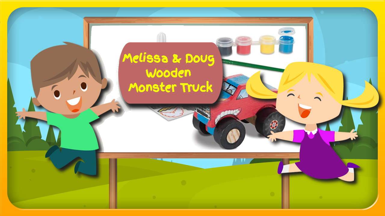 """Image bears the text: """"Melissa and Doug monster truck toy""""."""