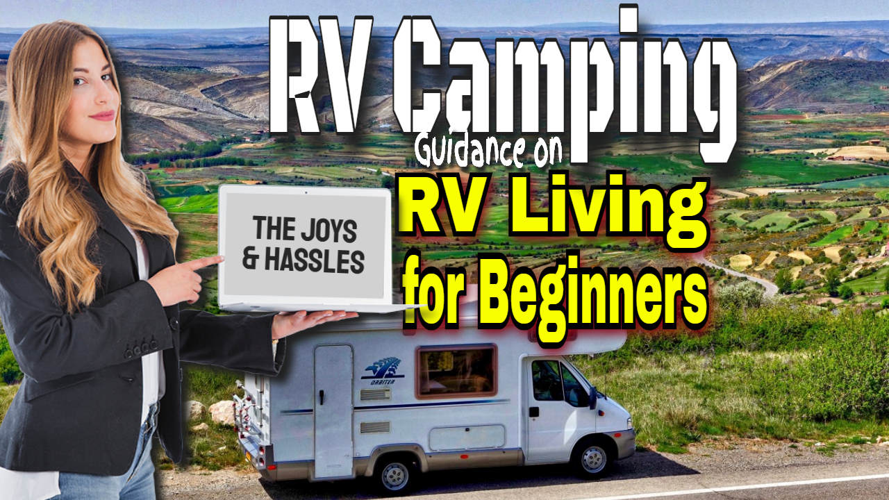 "RVing - Image text: ""RV Camping for Beginners""."